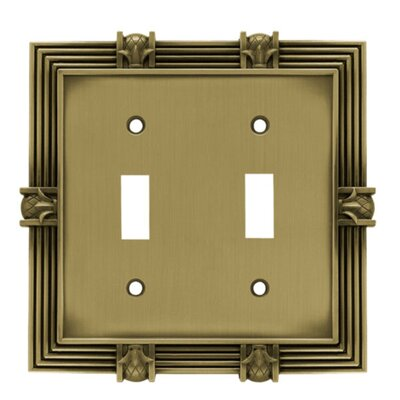 Pineapple Double Switch Wall Plate Finish: Tumbled Antique Brass