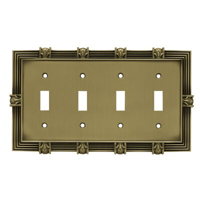Pineapple Quad Switch Wall Plate Finish: Tumbled Antique Brass
