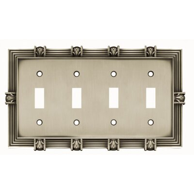 Pineapple Quad Switch Wall Plate Finish: Brushed Satin Pewter