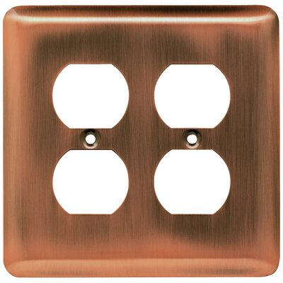Stamped Steel Round Double Duplex Wall Plate Finish: Antique Copper