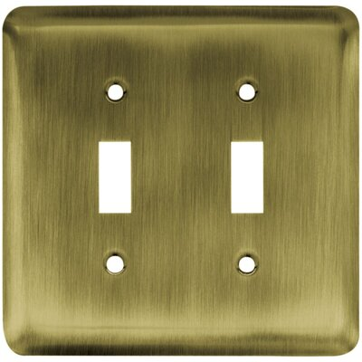 Stamped Steel Round Double Duplex Wall Plate Finish: Antique Brass