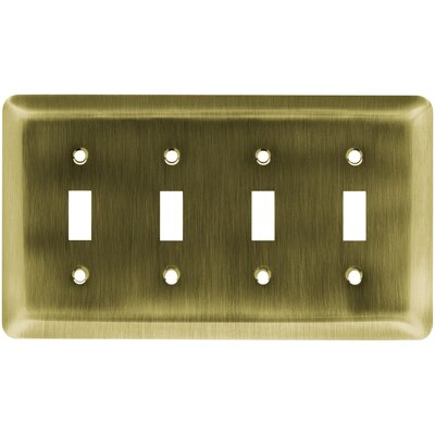 Stamped Steel Round Quad Switch Wall Plate Finish: Antique Brass