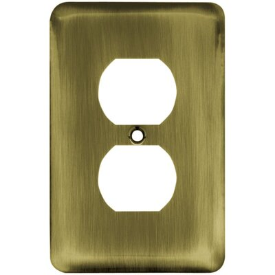Stamped Steel Round Single Duplex Wall Plate Finish: Antique Brass