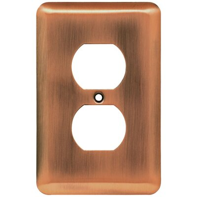 Stamped Steel Round Single Duplex Wall Plate Finish: Antique Copper