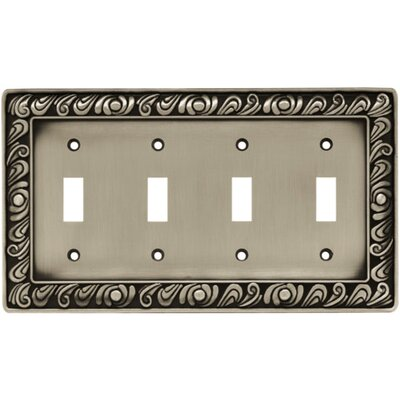 Paisley Quad Switch Wall Plate Finish: Brushed Satin Pewter