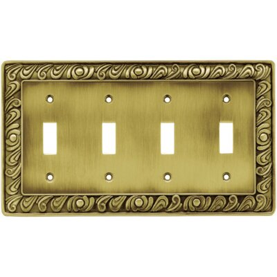 Paisley Quad Switch Wall Plate Finish: Tumbled Antique Brass