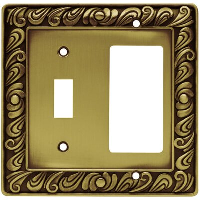 Paisley Single Switch GFCI/Rocker Wall Plate Finish: Tumbled Antique Brass