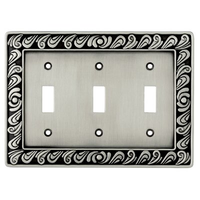 Paisley Triple Switch Wall Plate Finish: Brushed Satin Pewter