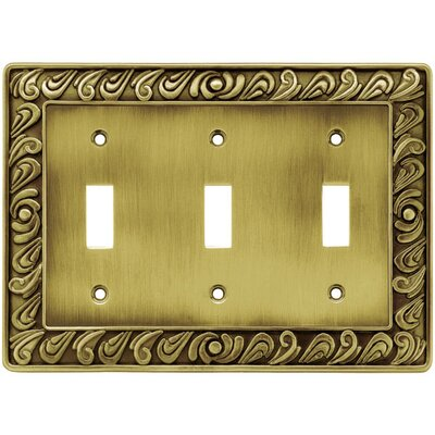 Paisley Triple Switch Wall Plate Finish: Tumbled Antique Brass