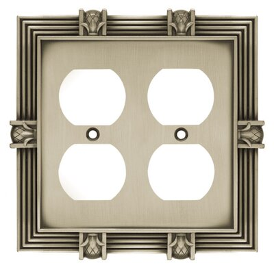 Pineapple Double Duplex Wall Plate Finish: Brushed Satin Pewter