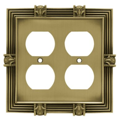 Pineapple Double Duplex Wall Plate Finish: Tumbled Antique Brass