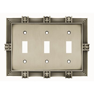 Pineapple Triple Switch Wall Plate Finish: Brushed Satin Pewter