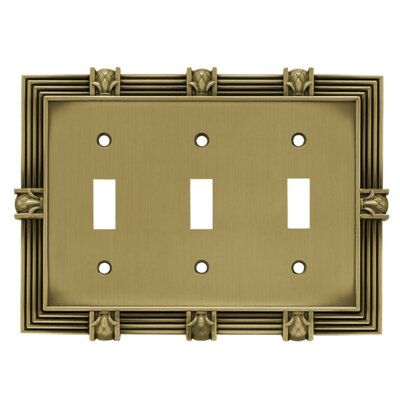 Pineapple Triple Switch Wall Plate Finish: Tumbled Antique Brass