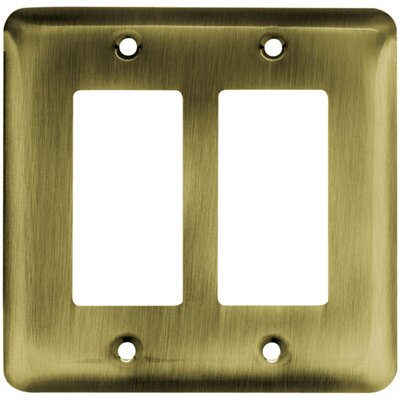 Image of Stamped Steel Round Double Decorator Wall Plate Finish: Antique Brass