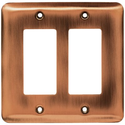 Stamped Steel Round Double Decorator Wall Plate Finish: Antique Copper