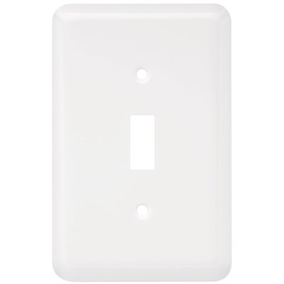 Stamped Round Single Switch Wall Plate Finish: White