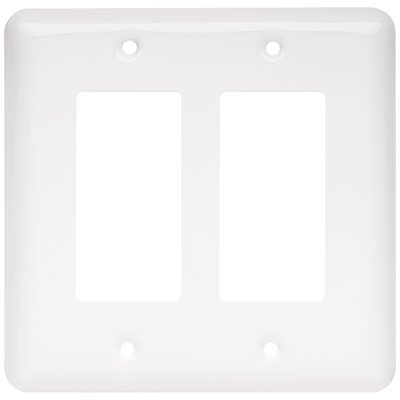 Stamped Round Double Decorator Wall Plate Color: White