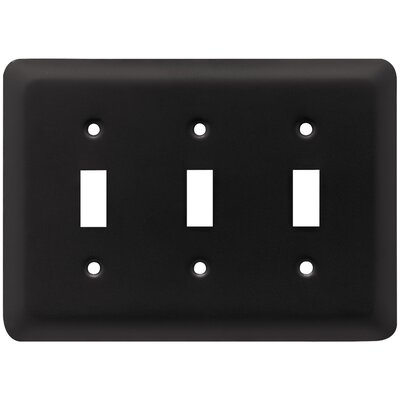 Stamped Round Triple Switch Wall Plate Color: Flat Black