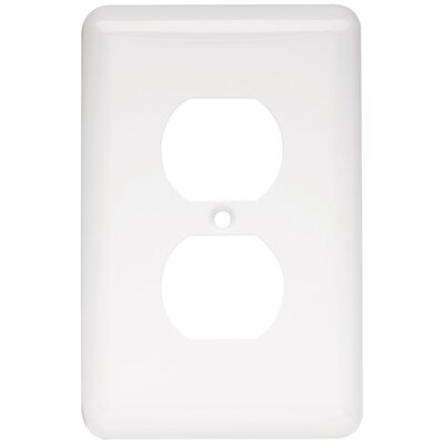 Stamped Round 1 Gang Duplex Wall Plate Finish: White