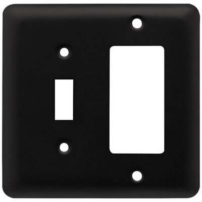 Stamped Round 1 Switch Decorator Wall Plate Color: Flat Black