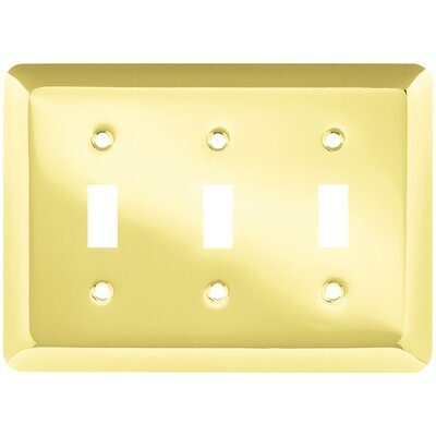 Stamped Round Triple Switch Wall Plate Finish: Polished Brass