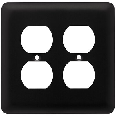 Stamped Round 2 Gang Duplex Wall Plate Finish: Flat Black