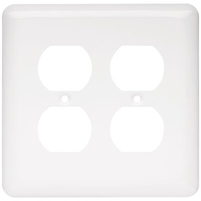 Stamped Round 2 Gang Duplex Wall Plate Color: White
