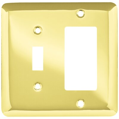 Stamped Round Single Switch Decorator Wall Plate Finish: Polished Brass