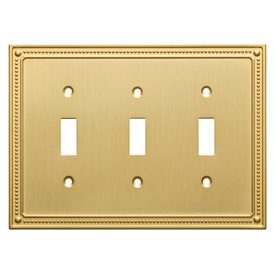 Classic Beaded Triple Switch Wall Plate Color: Brushed Brass