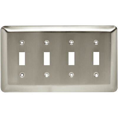 Stamped Round Quad Switch Wall Plate Finish: Satin Nickel