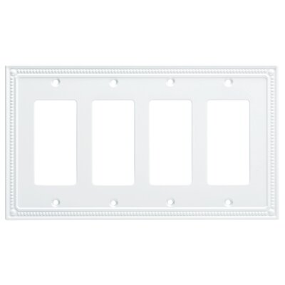 Classic Beaded Quad Decorator Wall Plate Color: Pure White