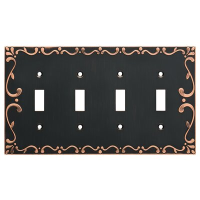 Classic Lace Quad Switch Wall Plate Finish: Bronze/Copper