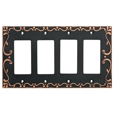 Classic Lace Quad Decorator Wall Plate Finish: Bronze/Copper