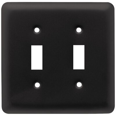 Stamped Round Double Switch Wall Plate Color: Flat Black
