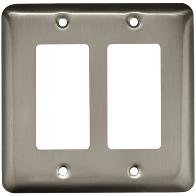 Stamped Round Double Decorator Wall Plate Finish: Satin Nickel