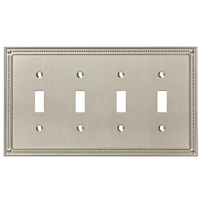 Classic Beaded Quad Switch Wall Plate Finish: Satin Nickel