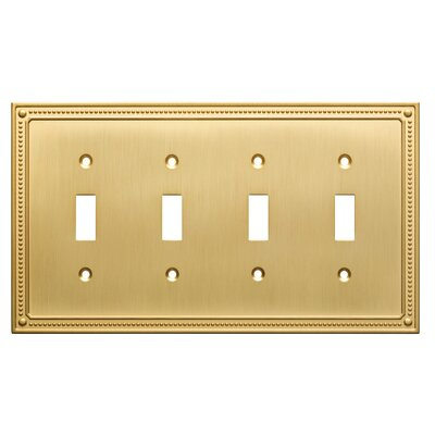 Classic Beaded Quad Switch Wall Plate Color: Brushed Brass
