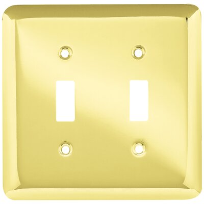 Stamped Round Double Switch Wall Plate Color: Polished Brass