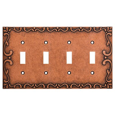 Classic Lace Quad Switch Wall Plate Finish: Sponged Copper