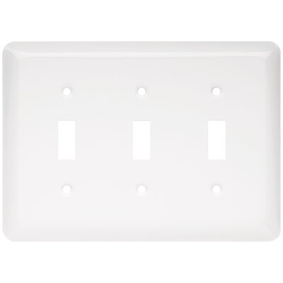 Stamped Round Triple Switch Wall Plate Finish: White