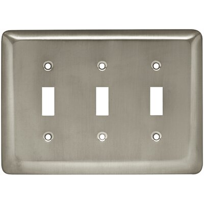 Stamped Round Triple Switch Wall Plate Color: Satin Nickel