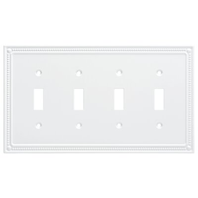 Classic Beaded Quad Switch Wall Plate Color: Pure White