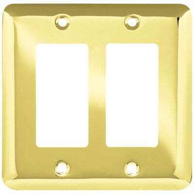 Stamped Round Double Decorator Wall Plate Color: Polished Brass