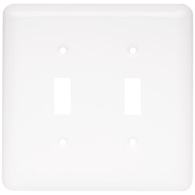 Stamped Round Double Switch Wall Plate Color: White