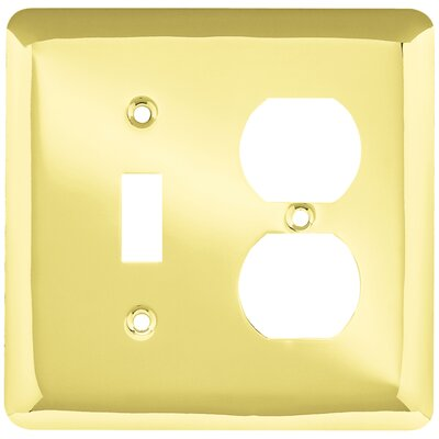 Stamped Round Single Switch Gang Duplex Wall Plate Color: Polished Brass