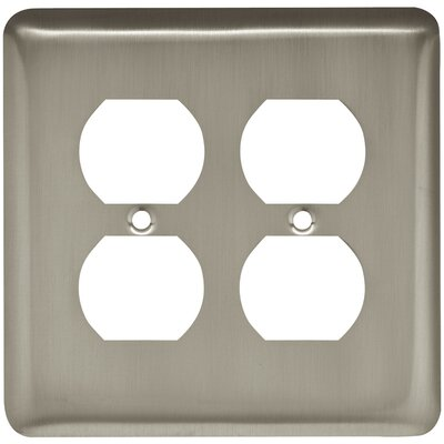 Stamped Round 2 Gang Duplex Wall Plate Finish: Satin Nickel