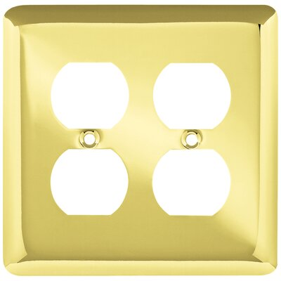 Stamped Round 2 Gang Duplex Wall Plate Color: Polished Brass