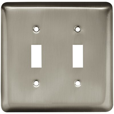 Stamped Round Double Switch Wall Plate Color: Satin Nickel