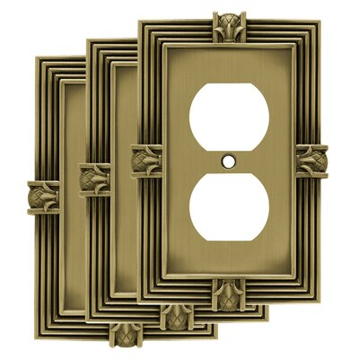 Pineapple 1 Gang Duplex Wall Plate Finish: Tumbled Antique Brass