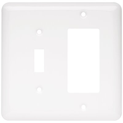 Stamped Round 1 Switch Decorator Wall Plate Color: White